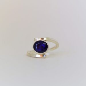 - Oval Sapphire Split Band Ring